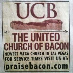 United Church of Bacon Ad in Las Vegas Review Journal